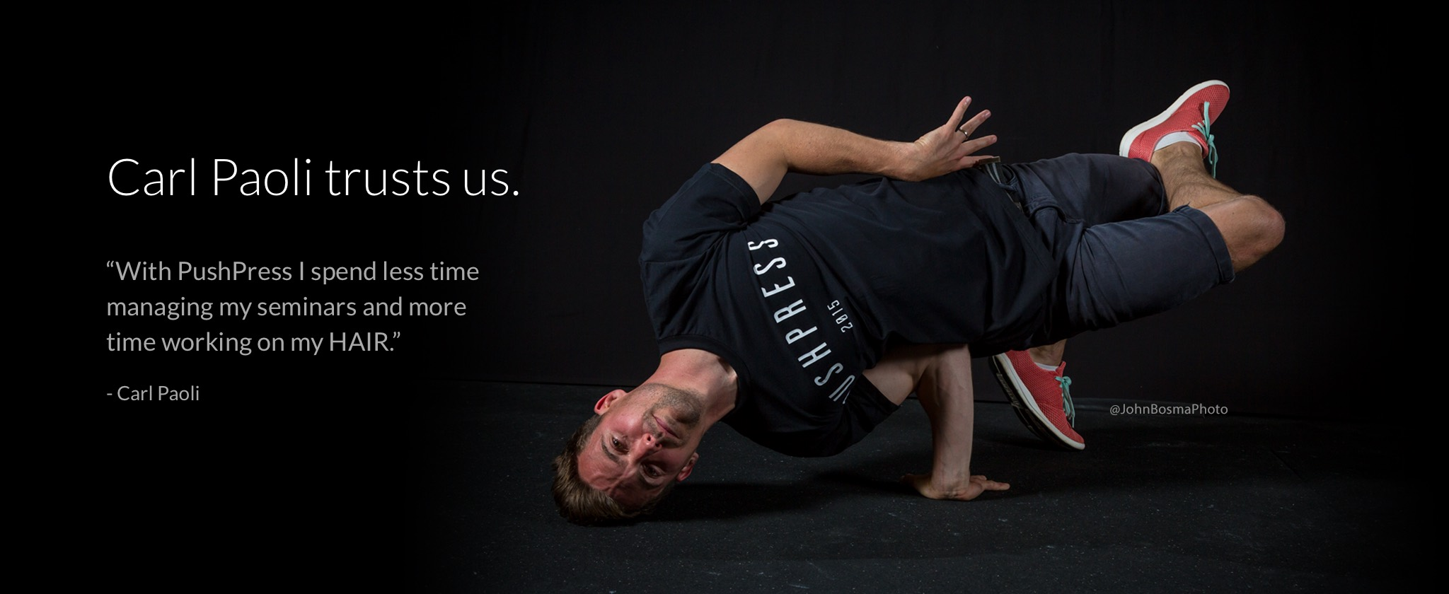 Carl Paoli (Freestyle Movement and San Francisco CrossFit) loves PushPress to help him run his CrossFit movement seminars.